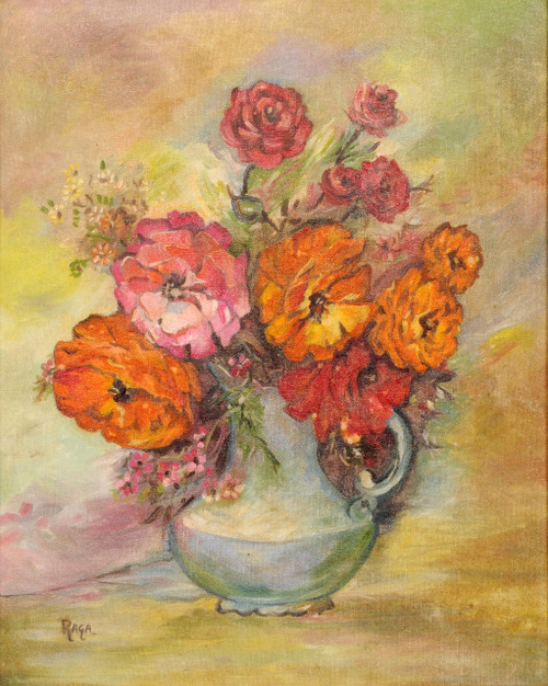 Flowers, Roses, Vase, Pot, Bunch, Colors, Bright, Fragrance, Smell, Different, Colorful ,Beautiful Roses,ART_1688_14399,Artist : ANJU AGRAWAL,Oil
