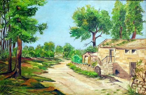 Nature, Farmhouse, Morning, Village, House, Path, Road, Way, Hut, Tree, Landscape, Greenery, Bushes,Country House,ART_1688_14398,Artist : ANJU AGRAWAL,Oil