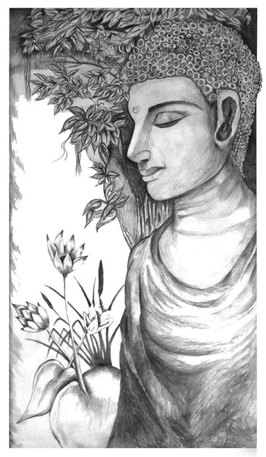 Buddha,Buddha with flowers,ART_1739_14381,Artist : Ravi Borade,Pencil