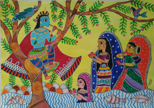 ,Krishna Madhubani Art,ART_1243_14380,Artist : Ujwala Chavan,Acrylic