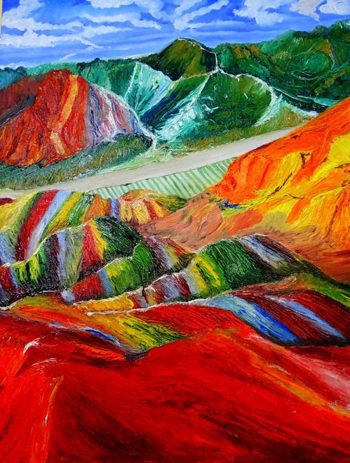 Mountains, Peace, COLOURS, STONES,RAINBOW MOUNTAINS AT PERU,ART_1664_14364,Artist : SHAILEYEE  DAS,Oil