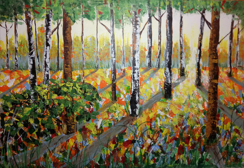 Forest, land scape, Sunrise,Nature, Tree,Beauty Of Forest,ART_1648_14356,Artist : HRIDAY DAS,Acrylic