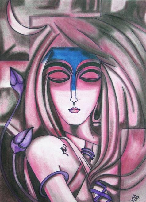 Girl, Love, Nature, Butterfly, Flowers,Manuni - Respectable Gesture,ART_1763_14402,Artist : Dhara Vaghasiya,Pastels