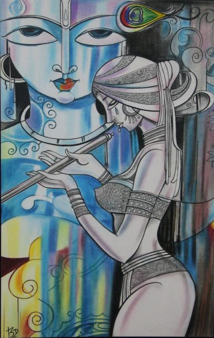 Radha, Krishna, Fluet, Sorrow, Pain, Peacock feather,Ardhya - Unconditional Love,ART_1763_14400,Artist : Dhara Vaghasiya,Pastels
