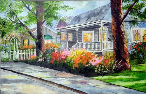 House, Pavement, Flowers, Garden, Morning, colourful,Garden Hilltop House,ART_1688_13923,Artist : ANJU AGRAWAL,Oil
