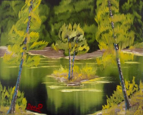 Enchanted forest, nature, green, dipali deshpande, fizdi, canvas, oil painting, wallart, artwok, trees, water, green,Enchanted Forest,ART_259_14460,Artist : Dipali Deshpande,Oil
