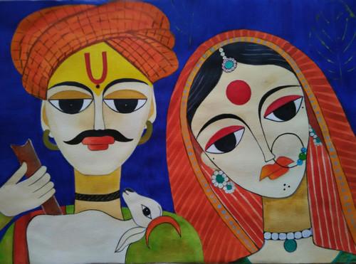,Tribal Art 4,ART_1243_14463,Artist : Ujwala Chavan,Acrylic