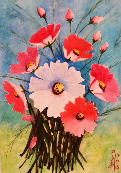 flora, floral, cosmos flowers, dipali deshpande, fizdi, pink, red, green, brown, white, wallart, painting, watercolours,Cosmos Flowers 2,ART_259_7926,Artist : Dipali Deshpande,watercolours on 300 GSM Paper