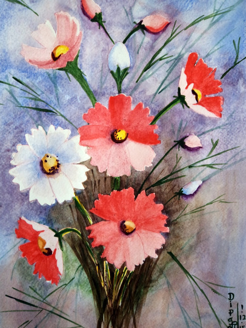 fizdi, cosmos flowers, flora, floral, dipali deshpande, watercolours, paintings, wallart,Cosmos Flowers 1,ART_259_7925,Artist : Dipali Deshpande,Water Colors