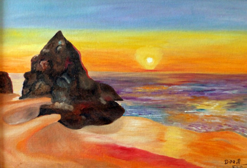 Sunset, beautiful sunset, nature, sea, mountain, dipali deshpande, fizdi, wallart, oil painting, canvas,Beautiful Sunset,ART_259_7924,Artist : Dipali Deshpande,Oil