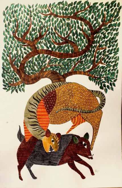 Tiger, Boar, Gond, Tribal, Tree,Gond Tiger and Boar,ART_1778_14475,Artist : Divya Murlidharan,Acrylic