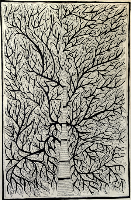madhubani, folk art, tribal painting, tree,Dense Folk Tree,ART_1778_14473,Artist : Divya Murlidharan,Ink