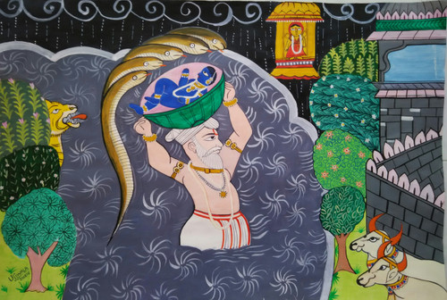 ,krishna janma Miniature art series,ART_1243_14297,Artist : Ujwala Chavan,Acrylic