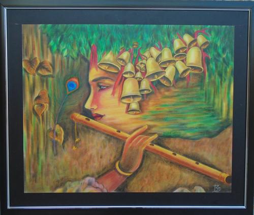Krishna, Sur, Fluet, Bell, Nature, Peacock feather, Happiness, Divine,Krishna Diwani - Divinity Everywhere,ART_1763_14397,Artist : Dhara Vaghasiya,Pastels