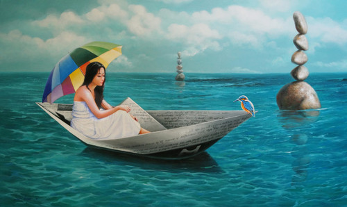 acrylic on canvas,figurative, fantasy,Surrealism,Chithir Vela,ART_1790_14520,Artist : Sabir Haque,Acrylic