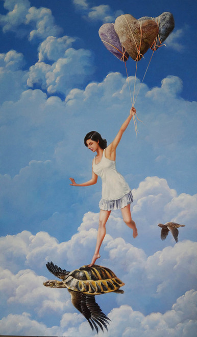 acrylic on canvas,figurative, Surrealism,Love,ART_1790_14519,Artist : Sabir Haque,Acrylic