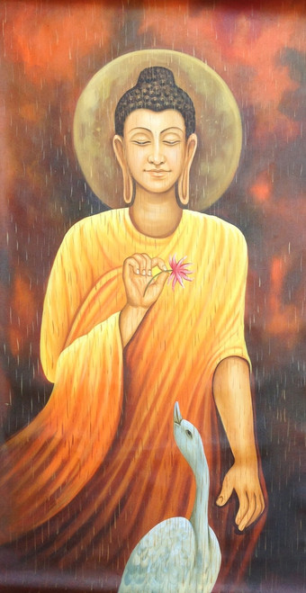 ,Buddha 01,ART_1522_6539,Artist : Ram Achal,Acrylic on canvas