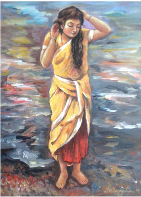 ,Little Girl,ART_836_14312,Artist : Debkumar Bhattacharyya (Seller),Acrylic