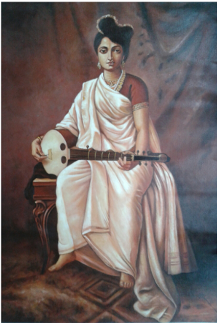 ,Lady with Music,ART_836_14308,Artist : Debkumar Bhattacharyya (Seller),Acrylic
