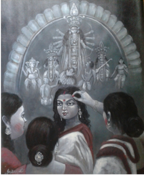 ,Durga Puja,ART_836_14306,Artist : Debkumar Bhattacharyya (Seller),Acrylic