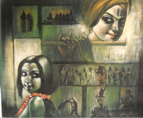 ,Little Krishna,ART_836_14335,Artist : Debkumar Bhattacharyya (Seller),Acrylic