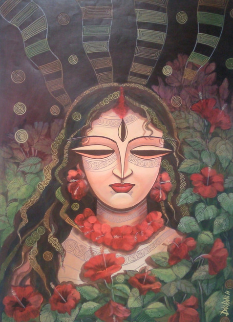 ,Devi 2,ART_836_4105,Artist : Debkumar Bhattacharyya (Seller),Acrylic