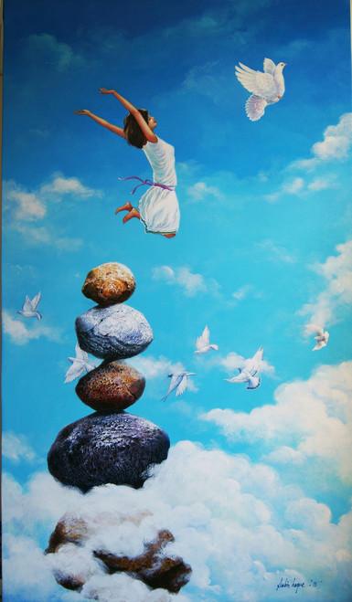 acrylic on canvas,figurative, fantasy,Surrealism,Fly,ART_1790_14564,Artist : Sabir Haque,Acrylic