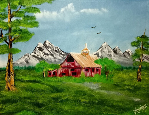 Green, Nature, landscape, red house, mountains, forest, trees,Forest Red Barn,ART_1648_14581,Artist : HRIDAY DAS,Oil