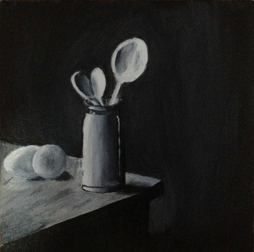 Still life, spoons, eggs, jar, Black and white, shadow,Spoons and Eggs,ART_1798_14565,Artist : Ankush Bhayekar,Oil
