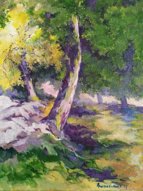 Peace,Trees,morning sun,sunrise,morning,misty,foggy,Morning Tree 4,ART_910_14609,Artist : Amit Mazumder,Acrylic