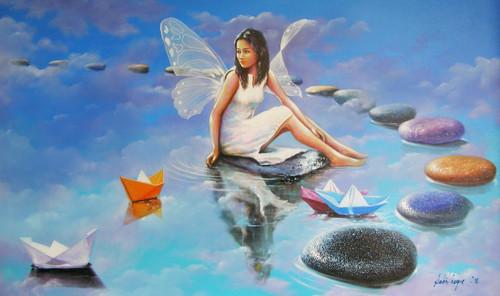 acrylic on canvas,figurative, fantasy,Surrealism,Angel,ART_1790_14619,Artist : Sabir Haque,Acrylic