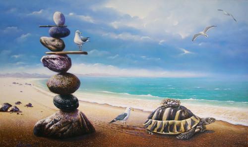 acrylic on canvas,seascape, fantasy,Surrealism,Adoption,ART_1790_14618,Artist : Sabir Haque,Acrylic