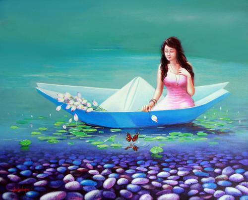 acrylic on canvas,figurative, fantasy,Surrealism,A Journey of Childhood,ART_1790_14620,Artist : Sabir Haque,Acrylic