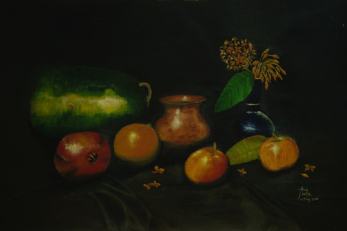 Fruits, still life, flowers, atmosphere,Copper Jar with Fruits and Flowers- Still Life,ART_1442_11884,Artist : Arun Akella,Oil