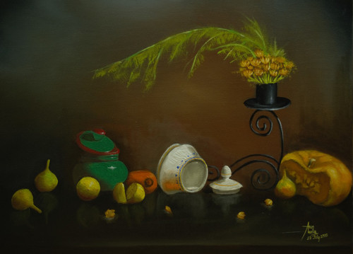 atmosphere, candle stand, fruits, flowers,Antique Candle Stand with Jar and Flowers,ART_1442_11882,Artist : Arun Akella,Oil
