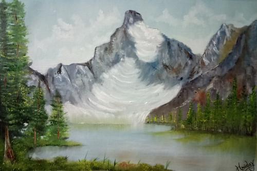Mountain, Trees, Glacier, Green, Nature, Landscape and Seascape,Mountain Glacier,ART_1648_14837,Artist : HRIDAY DAS,Oil