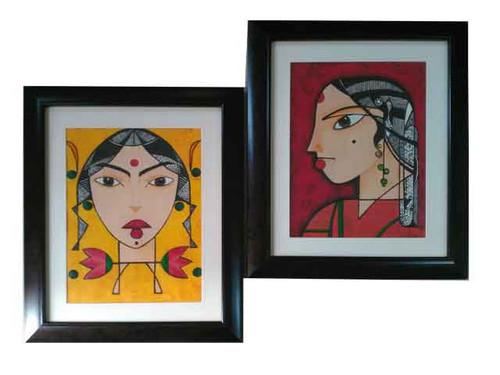 sisters,Damsel Painting.,ART_1435_14819,Artist : Kalyani Kshatriya,Oil
