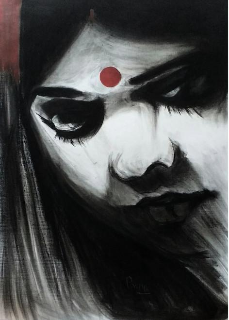 woman, marriage, sindur,Her-Million,ART_1830_14794,Artist : Pratip Dasgupta,Charcoal