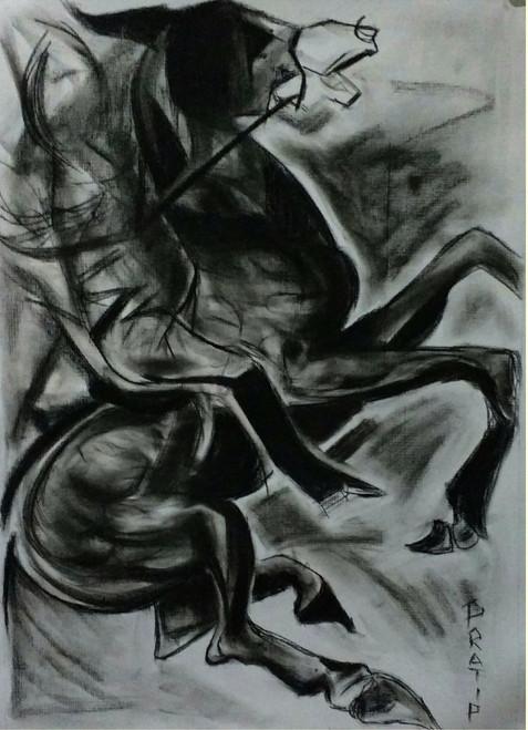 war, horse, energy, fight,War Horse,ART_1830_14791,Artist : Pratip Dasgupta,Charcoal