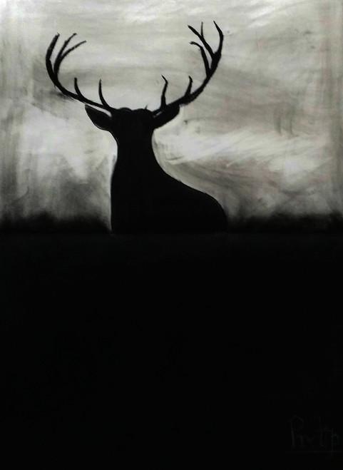 sunset, charcoal, deer, return home,Branch,ART_1830_14788,Artist : Pratip Dasgupta,Charcoal