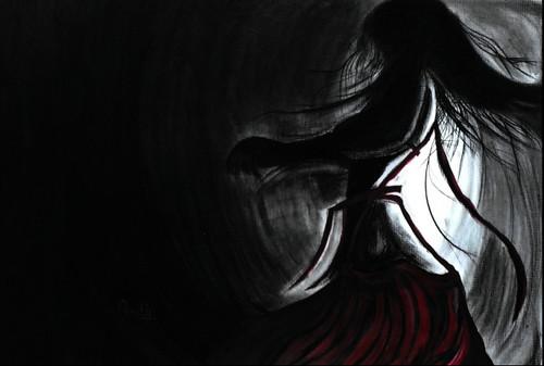 Lady, Fight, Woman, Darkness,Meye,ART_1830_14787,Artist : Pratip Dasgupta,Mixed Media