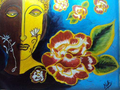 buddha with flowers,buddha with flowers,ART_1552_14883,Artist : Nidhi Jain,Oil
