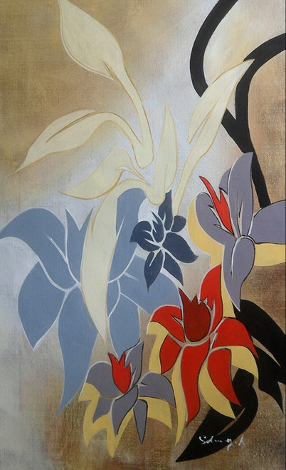 beautiful floral paintings,flower paintings,56ABT198,MTO_1550_14872,Artist : Community Artists Group,Mixed Media