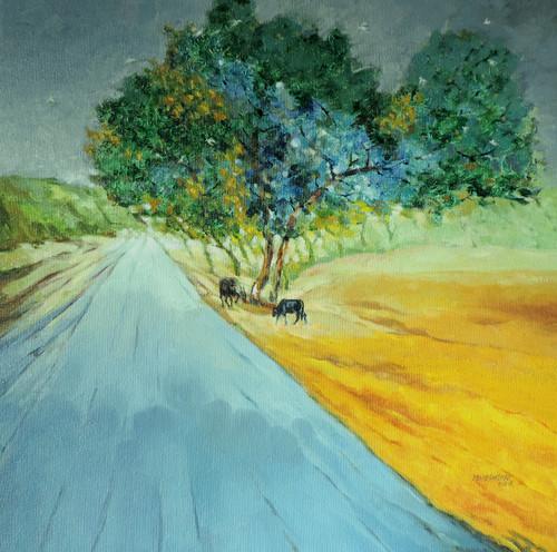 Tree, sky, green, animal. mountains,landscape,ART_499_14848,Artist : MAHESHKUMAR JADHAV,Oil