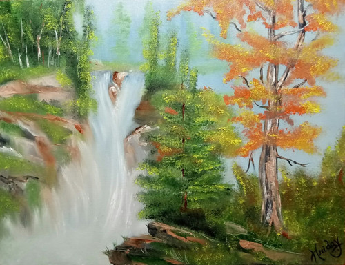 Green, Nature, landscape, waterfall, forest, trees,Forest Water Fall,ART_1648_14913,Artist : HRIDAY DAS,Oil