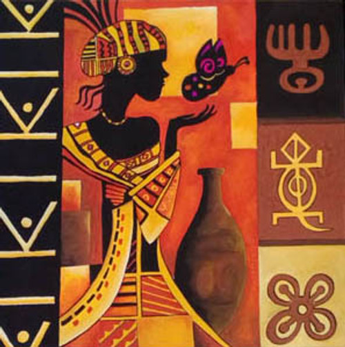 Buy African Woman Playing With A Butterfly Handmade Painting By