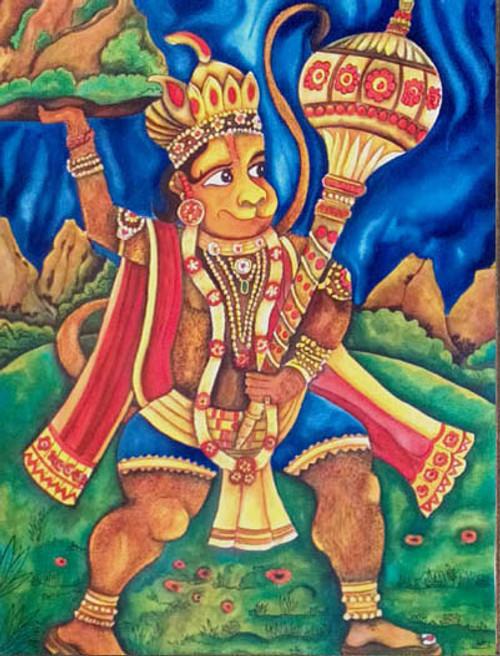 hanuman,abstract,indian gods,indian art,hanuman,ART_1315_11242,Artist : Sujan Babu,Water Colors