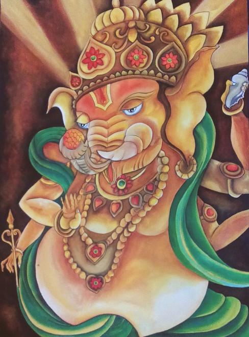 ganesha,indian contemporary art,ganesha,ART_1315_11241,Artist : Sujan Babu,Water Colors