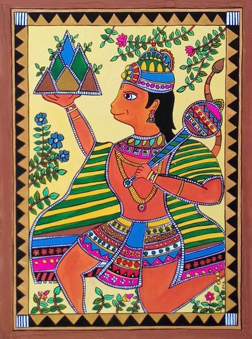 madhubani,mithila,hanuman,indian art,contemporary,hanuman,ART_1315_11238,Artist : Sujan Babu,Water Colors
