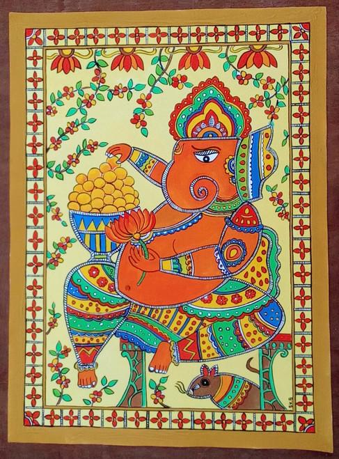 ganesha ,Madhubani , Mural ,Mithila ,indian art,indian gods,modaka,Ganesha eating modaka,ART_1315_11235,Artist : Sujan Babu,Water Colors